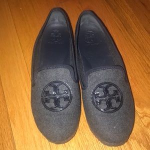 Tory Burch grey and black loafer